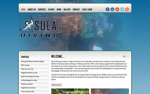 Screenshot of Home Page suladiving.com - SULA Diving provides a range of marine and underwater services from its base in the Orkney Islands - SULA Diving :: Orkney Scotland Marine and Underwater Services - captured Sept. 30, 2014