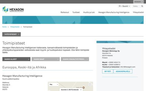 Screenshot of Locations Page hexagonmi.com - Toimipisteet | Hexagon Manufacturing Intelligence - captured Nov. 25, 2017