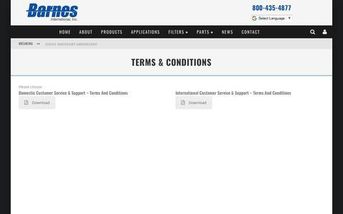 Screenshot of Terms Page barnesintl.com - Terms & Conditions - Barnes International, Inc. - captured Oct. 10, 2017