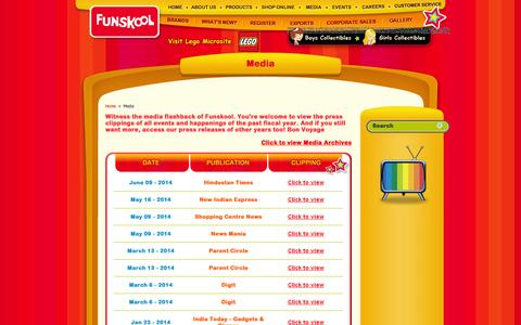 Screenshot of Press Page funskoolindia.com - Funskool toys, infants, childrens toys, new born baby toys, teethers, toys shop, toys shop in chennai, toys brands, indian toys brands, brand toys, funskool shop online, teethers, funskool international toys, toy stores chennai, toy stores in india,  - captured Sept. 23, 2014
