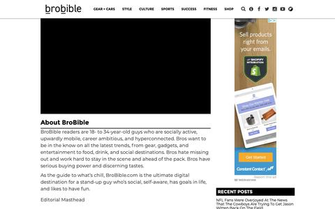 Screenshot of About Page brobible.com - About BroBible - captured Dec. 9, 2018