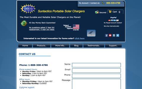 Screenshot of Contact Page suntactics.com - Contact Suntactics - captured Nov. 5, 2017