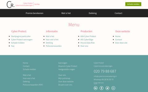 Screenshot of Menu Page cyberrisicoverzekering.nl - Navigatie Cyber Protect - captured Nov. 12, 2016