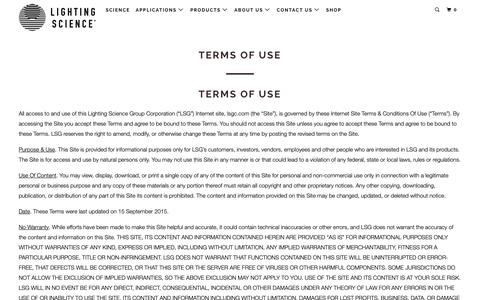 Screenshot of Terms Page lsgc.com - Lighting Science - Terms of Use - LED Lights Bulbs + Lamps - captured Dec. 12, 2018