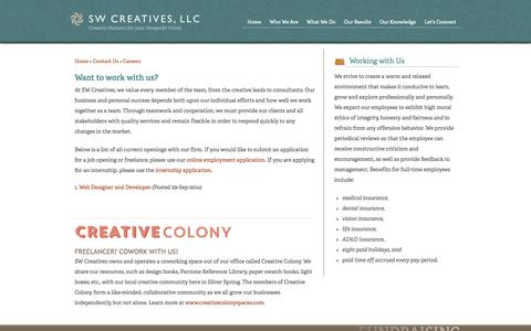 Screenshot of Jobs Page swcreatives.com - Careers - captured Oct. 3, 2014