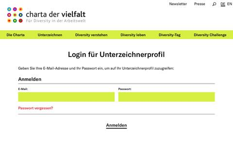 Screenshot of Login Page charta-der-vielfalt.de - Login - Für Diversity in der Arbeitswelt - captured Sept. 27, 2018