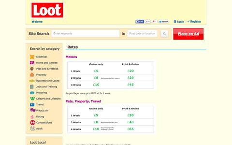 Screenshot of Pricing Page loot.com - Rates « - captured Sept. 19, 2014