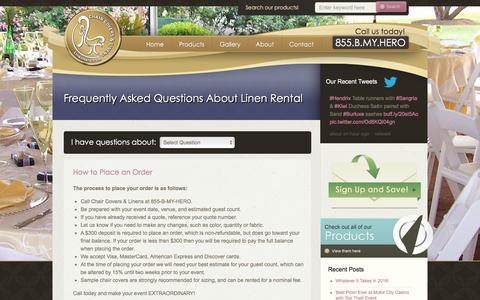 Screenshot of FAQ Page linenhero.com - Questions About Table Linen Rental & Chair Covers Return - captured Jan. 27, 2016