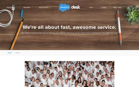 Screenshot of About Page desk.com - Our team is all about fast awesome service |  Desk.com - captured Oct. 22, 2015