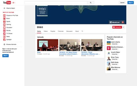 Screenshot of YouTube Page youtube.com - SS&G  - YouTube - captured Oct. 23, 2014