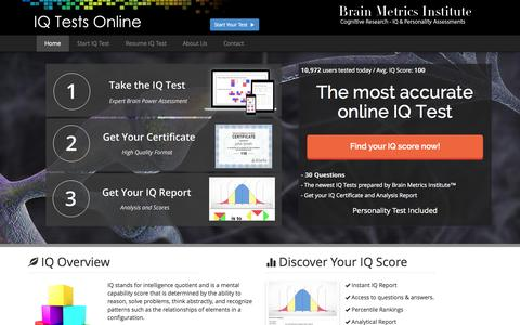 Screenshot of Home Page iq-tests-online.com - IQ Test Online - Provider of online cognitive and brain tests - captured June 18, 2015