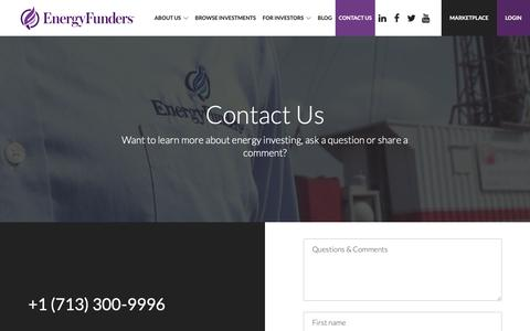 Screenshot of Contact Page energyfunders.com - Contact Us - EnergyFunders - captured Nov. 10, 2018