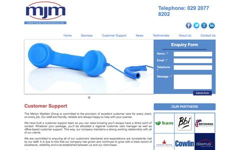 Screenshot of Support Page martynmaddengroup.co.uk - Custumer Support | MJM Cleaning & Maintenance Cardiff and Bristol areas - captured Oct. 27, 2014