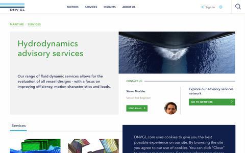 Screenshot of Services Page dnvgl.com - Hydrodynamics advisory services - DNV GL - captured June 4, 2019