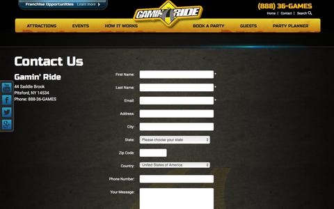 Screenshot of Contact Page gaminride.com - Contact Us - Gamin' Ride - captured Dec. 7, 2015