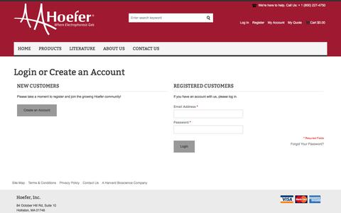 Screenshot of Login Page hoeferinc.com - Customer Login - captured July 20, 2018