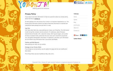 Screenshot of Privacy Page yobonja.com - Yobonja! - Privacy Policy - captured Oct. 27, 2014