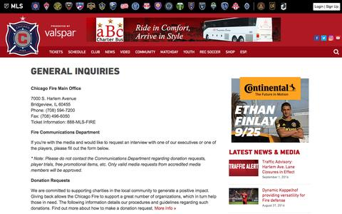 Screenshot of Contact Page chicago-fire.com - General Inquiries | Chicago Fire - captured Sept. 1, 2016