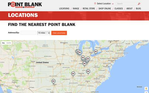 Screenshot of Locations Page shootpointblank.com - Locations | Point Blank Shooting Range & GunShop - captured Aug. 14, 2017