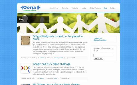 Screenshot of Blog oorjafuelcells.com - Blog - Oorja Fuel Cells - captured July 21, 2014