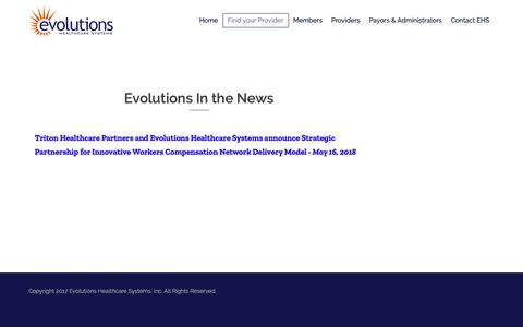 Screenshot of Press Page ehsppo.com - EHS In the News – Evolutions Healthcare Systems - captured Sept. 29, 2018