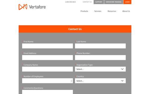 Screenshot of Contact Page vertafore.com - Contact Us | Vertafore - captured Oct. 5, 2017