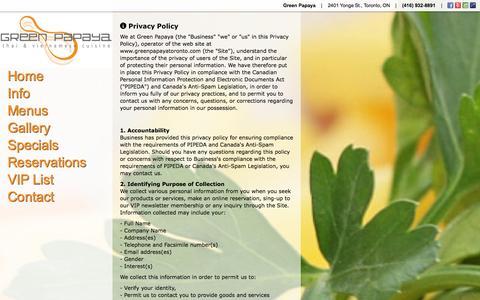 Screenshot of Privacy Page greenpapayatoronto.com - Privacy | Green Papaya | 2401 Yonge St., Toronto, ON | (416) 932-8891 - captured Nov. 2, 2014