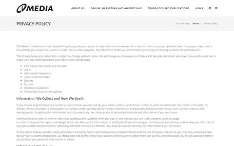 Screenshot of Privacy Page cdmedia.com - Privacy Policy | CD Media Publishing - captured July 14, 2018