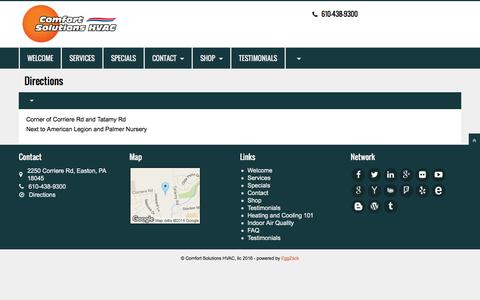 Screenshot of Maps & Directions Page cshvac.com - Welcome | Comfort Solutions HVAC, llc - captured Jan. 30, 2016