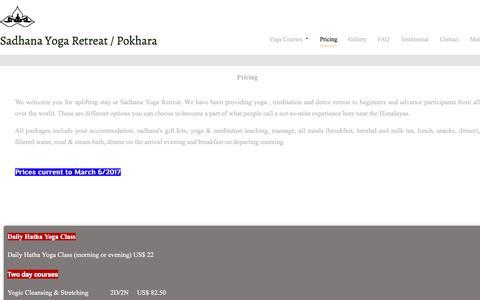 Screenshot of Pricing Page sadhana-asanga-yoga.com - sadhana yoga retreat center/prices - captured Oct. 3, 2017