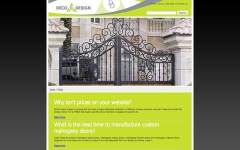 Screenshot of FAQ Page decodesigncenter.com - Frequently Asked Questions - Mahogany Wood Doors, High Impact Entrance Doors, Entry Doors - captured Sept. 30, 2014