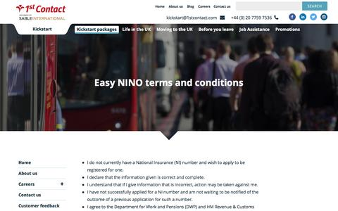 Screenshot of Terms Page 1stcontact.com - Easy NINO Terms And Conditions | 1st Contact Kickstart - captured Jan. 13, 2017