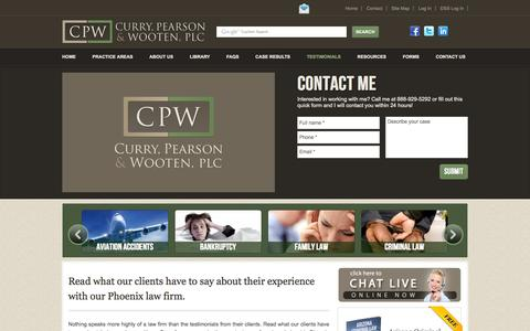 Screenshot of Testimonials Page azlaw.com - Read Client Testimonials Regarding Our Phoenix Law Firm | Curry, Pearson & Wooten, PLC - captured Oct. 3, 2014