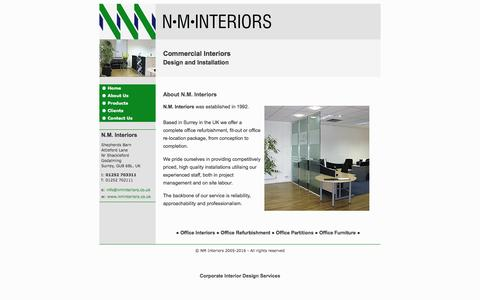 Screenshot of About Page nminteriors.co.uk - NM Interiors product range and commercial office interior design services - captured May 10, 2017