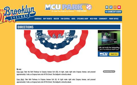 Screenshot of Maps & Directions Page brooklyncyclones.com - brooklyncyclones.com: Directions - captured Aug. 4, 2018