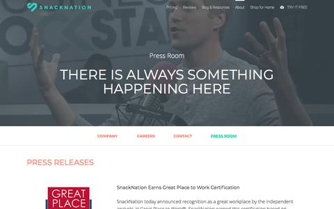 Screenshot of Press Page snacknation.com - SnackNation | Press Releases, News & Media Kits - captured May 5, 2018