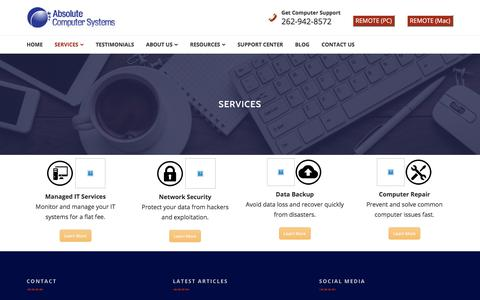 Screenshot of Services Page acskenosha.com - IT Support Services from Absolute Computer Systems in Kenosha, WI - captured Jan. 23, 2018