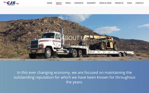 Screenshot of About Page cjs-ent.com - About - CJS Enterprises - Concrete, Masonry, Fence & Iron | Peoria AZ - captured Sept. 25, 2018