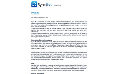 Screenshot of Privacy Page sync.me - Sync.ME - Magically update your contacts - captured Sept. 12, 2014