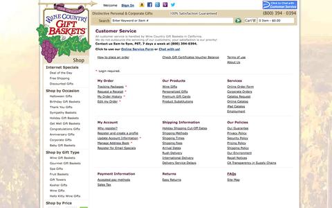 Screenshot of Support Page winecountrygiftbaskets.com - Gift Baskets by Wine Country Gift Baskets - captured Oct. 26, 2014