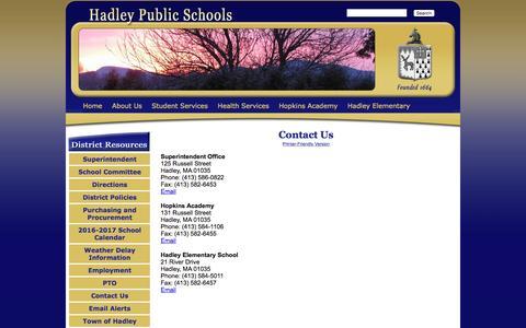 Screenshot of Contact Page hadleyschools.org - Hadley Public School District - Contact Us - captured Oct. 18, 2016
