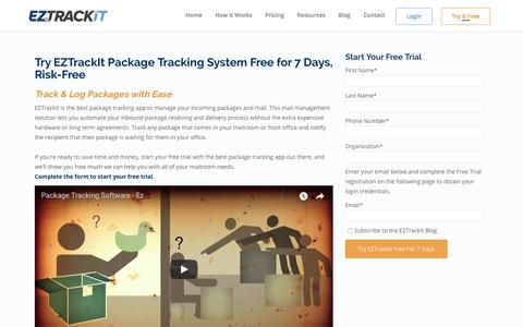 Screenshot of Trial Page eztrackit.com - Free Trial - EZTrackIt - Easy Track It Package Tracking Software - captured July 15, 2018