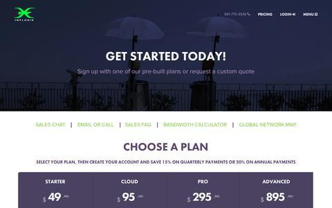 Screenshot of Pricing Page influxis.com - Pricing - Influxis - captured Dec. 16, 2015