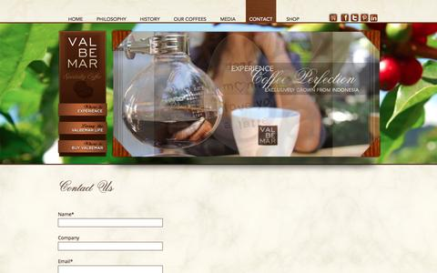 Screenshot of Contact Page valbemar.com - Contact Us | ValBeMar - captured Oct. 9, 2014