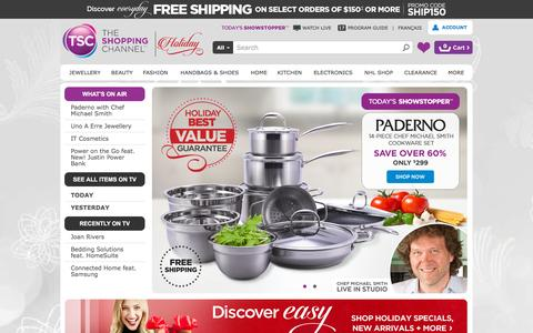 Screenshot of Home Page theshoppingchannel.com - Shop Jewellery, Beauty, Fashions, Home at The Shopping Channel - Online Shopping for Canadians - captured Oct. 17, 2015