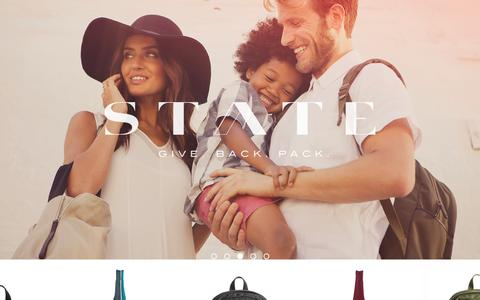 Screenshot of Home Page statebags.com - Backpacks, Bags and Giving Back - captured Sept. 23, 2014