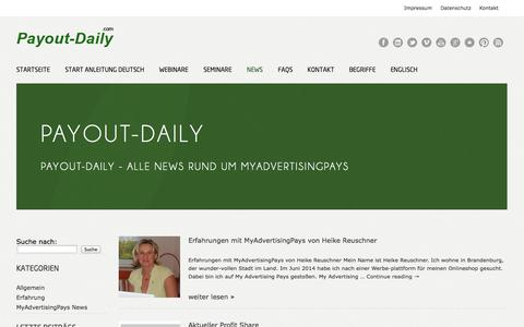 Screenshot of Press Page payout-daily.com - MyAdvertisingPays News - Aktuelle Infos im Blog - captured Oct. 30, 2014