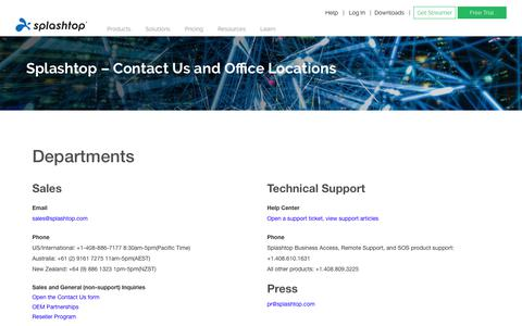 Screenshot of Contact Page splashtop.com - Contact Us - Splashtop Inc. - captured Sept. 19, 2019