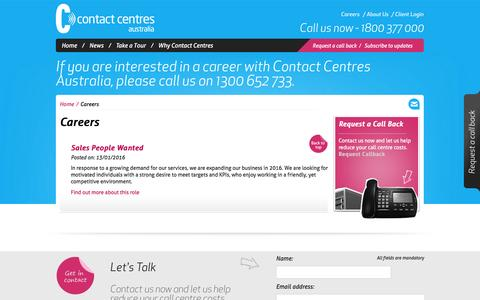 Screenshot of Jobs Page contactcentres.com.au - Careers | Contact Centres Australia - captured Jan. 23, 2016
