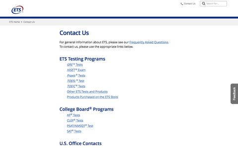 Screenshot of Contact Page ets.org - ETS: Contact Us - captured Sept. 19, 2019